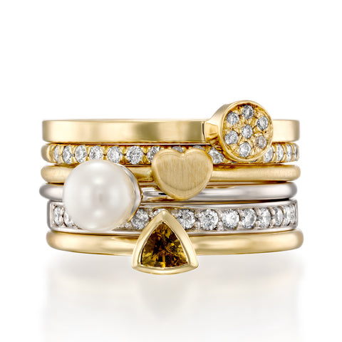 Yellow Lagoon Stack , 14k White & Yellow Gold