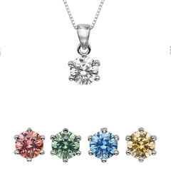 "1/4 CT  Round Swarovski Sterling Silver Pendant with Adjutable 16"" Box Chain"