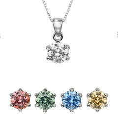 "1/2 CT  Round Swarovski CZ Sterling Silver Pendant with Adjutable 16"" Box Chain"