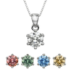 "1 CT Round Swarovski CZ Sterling Silver Pendant with Adjutable 16"" Box Chain"