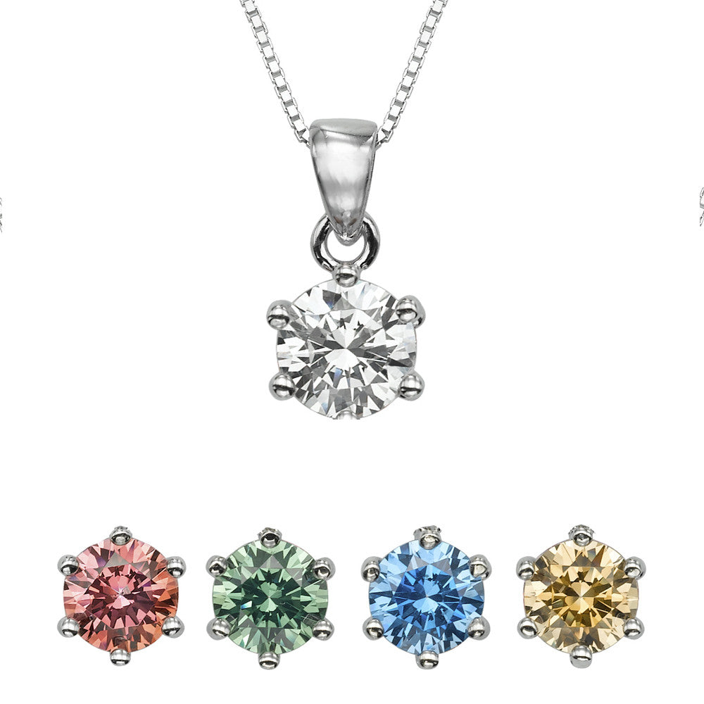 "3/4 CT  Round  Swarovski CZ Sterling Silver Pendant with Adjutable 16"" Box Chain"