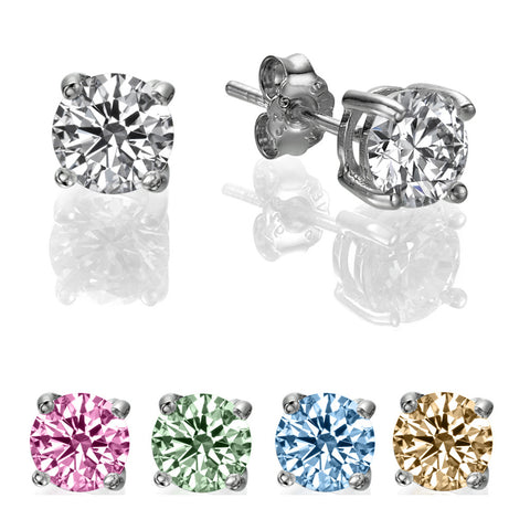 1/2 CT Round Swarovski CZ Sterling Silver Stud earrings
