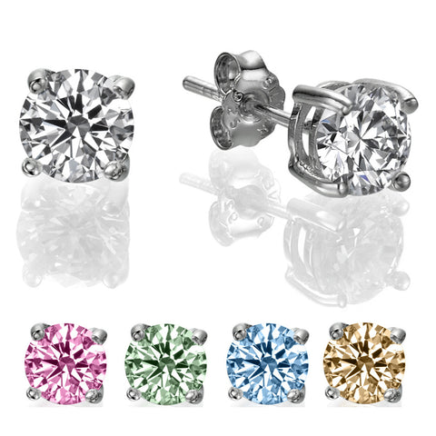 1 CT Round Swarovski CZ Sterling Silver Stud Earrings