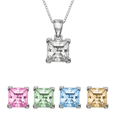 1/4 CT  Princess Cut Swarovski Sterling Silver Pendant with Adjutable 16