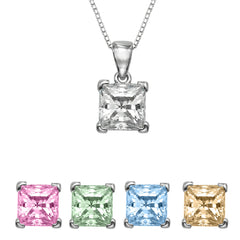"1/4 CT  Princess Cut Swarovski Sterling Silver Pendant with Adjutable 16"" Box Chain"