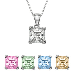 "1/2 CT  Princess Cut Swarovski CZ Sterling Silver Pendant with Adjutable 16"" Box Chain"