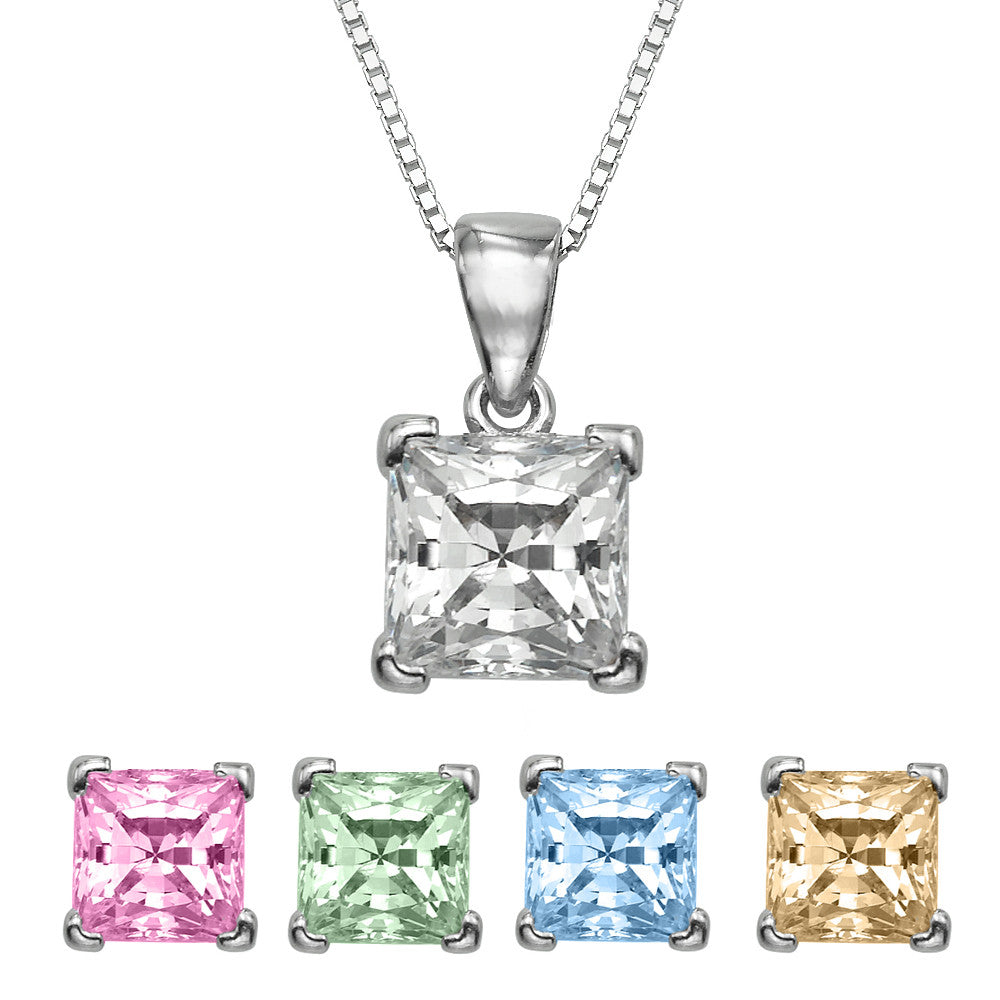 "1 CT  Princess Cut Swarovski CZ Sterling Silver Pendant with Adjutable 16"" Box Chain"