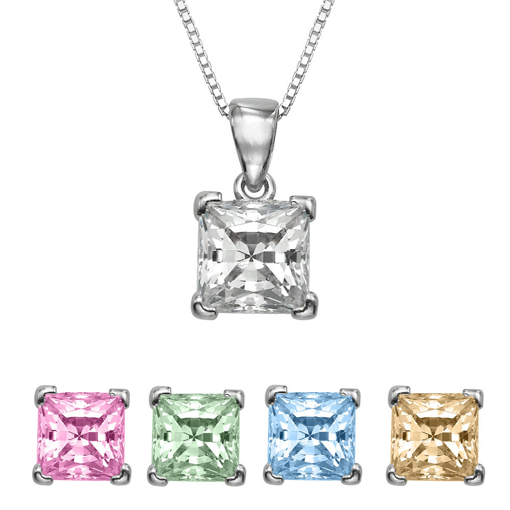 "3/4 CT  Princess Cut Swarovski CZ Sterling Silver Pendant with Adjutable 16"" Box Chain"