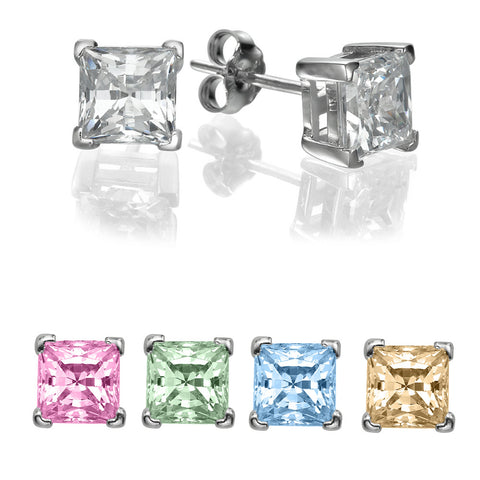 1/4 CT Princess Cut Swarovski Sterling Silver Stud earrings