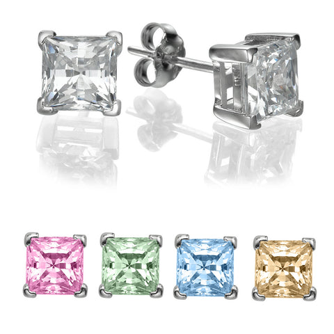 1/2 CT Princess Cut Swarovski CZ Sterling Silver Stud earrings