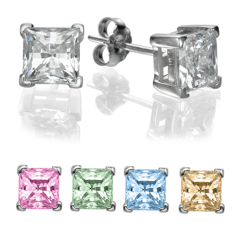 3/4 CT Princess Cut Swarovski CZ Sterling Silver Stud earrings