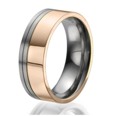 8mm Titanium Ring plated with Rose Gold with stylish double engraved stripes