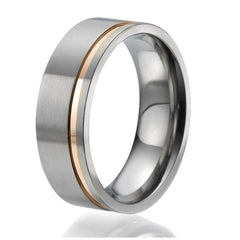 8mm flat Titanium Ring with a stylish rose gold plated engraved stripe