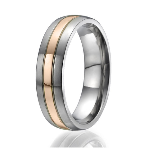 6mm domed Titanium Ring with a wide stylish rose gold plated stripe