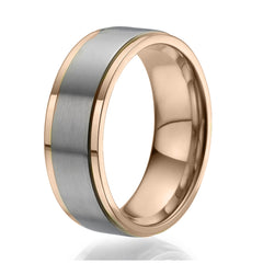 8mm Ring plated with rose gold with a stylish wide titanium band