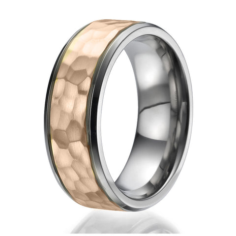 8mm Titanium Ring with a stylish hammered stripe plated with rose gold