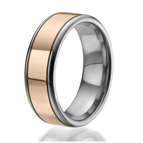8mm Titanium Ring with a stylish stripe plated with rose gold