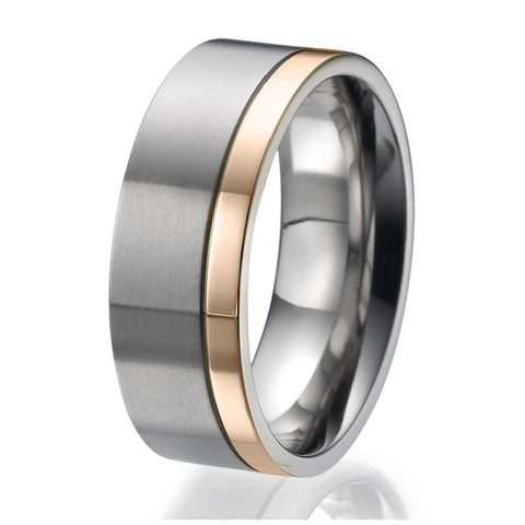 8mm flat Titanium Ring with a stylish narrow rose gold plated stripe