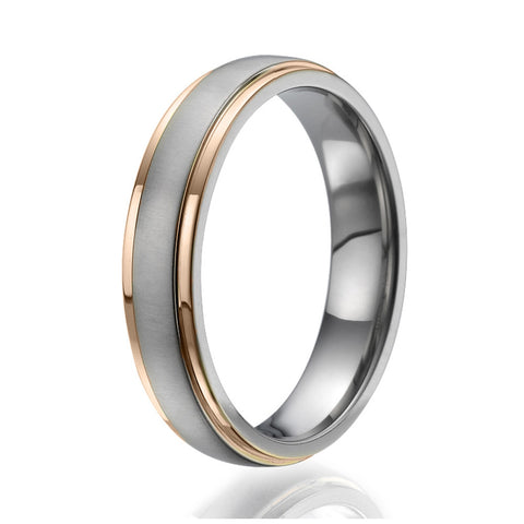 5mm domed Titanium Ring with 2 stylish rose gold plated stripes on the sides