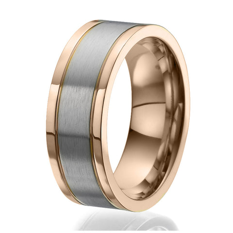 8mm Flat design Titanium Ring with 2 stylish rose gold plated stripes on the sides