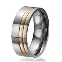 8mm Titanium Ring with 2 engraved stripes plated with rose gold