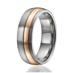 7mm Titanium Ring with a stylish stripe plated with rose gold