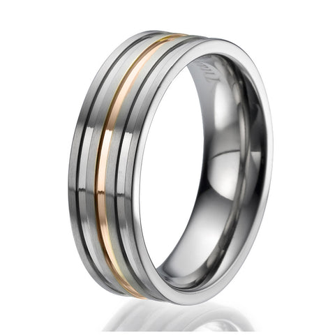 7mm Titanium Ring with 3 engraved stripes plated with rose gold