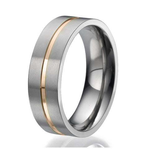 7mm Flat design Titanium Ring with an engraved stripe plated with rose gold