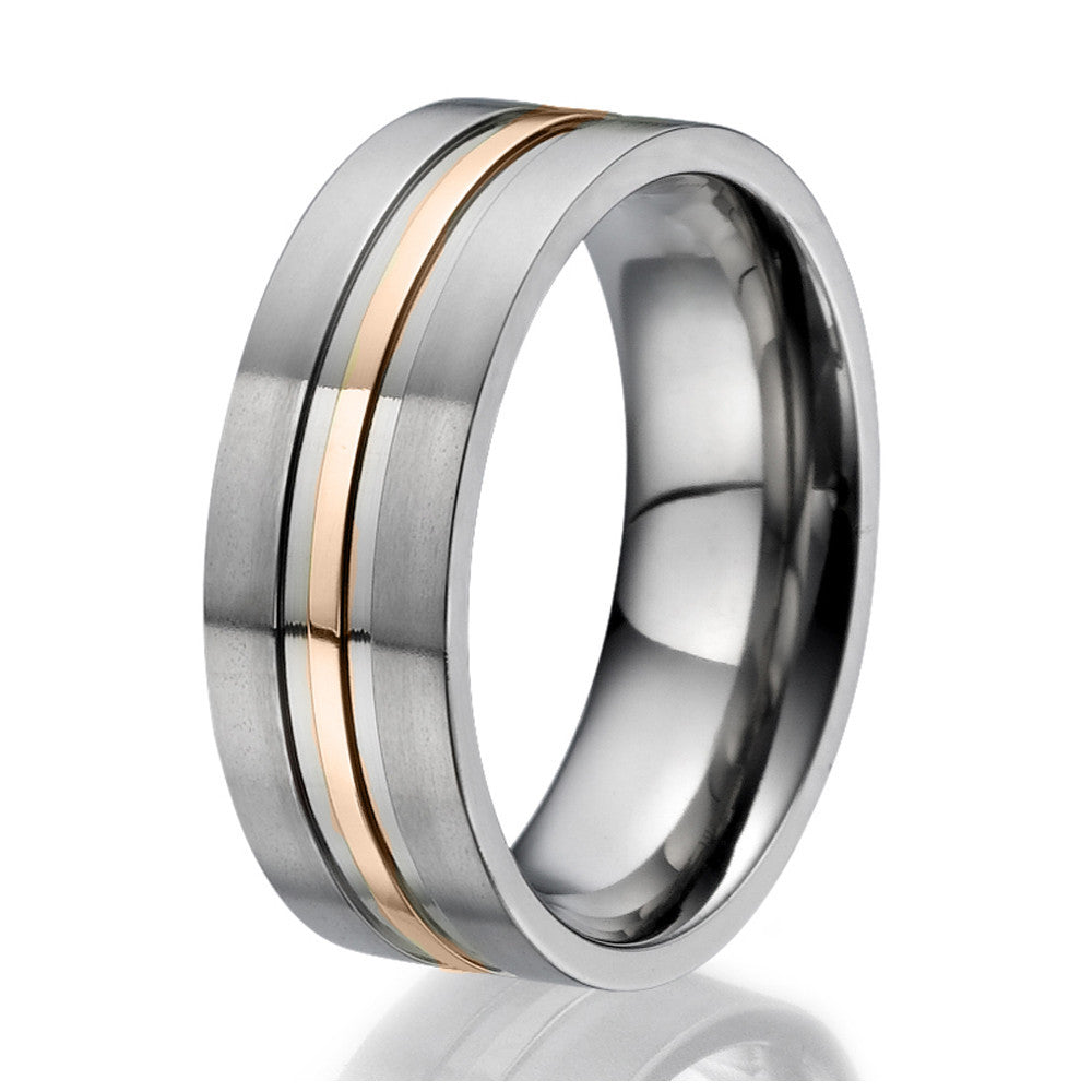 8mm Flat design Titanium Ring with an engraved stripe plated with rose gold