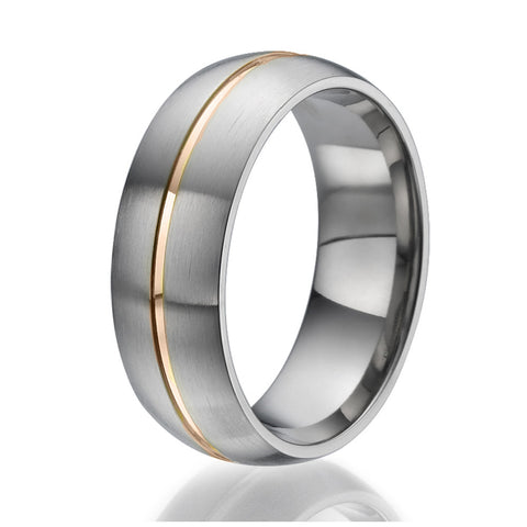 8mm domed Titanium Ring with a centered stylish stripe plated with rose gold