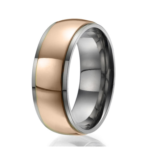 8mm Titanium Ring with a centered wide stripe plated with rose gold