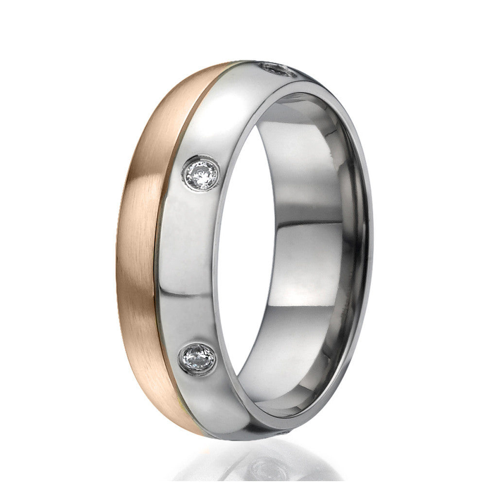 7mm Titanium Ring half plated with rose gold and round zirconia all around