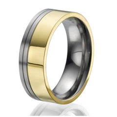 8mm Titanium Ring plated with yellow gold with stylish double engraved stripes