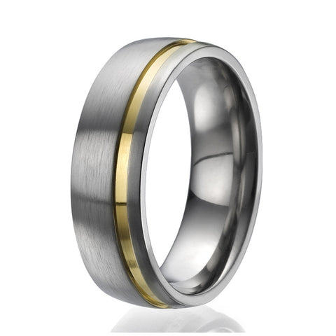 7mm domed Titanium Ring with a stylish yellow gold plated stripe