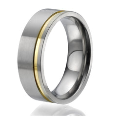 8mm flat Titanium Ring with a stylish yellow gold plated engraved stripe