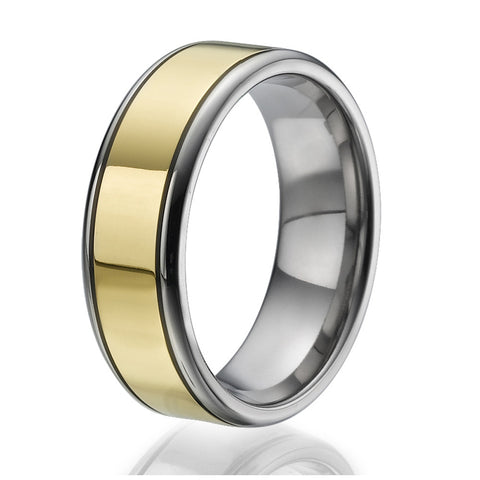 8mm Titanium Ring with a stylish stripe plated with yellow gold