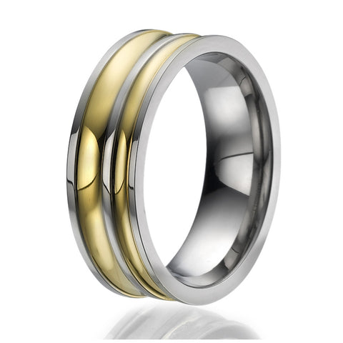 8mm Titanium Ring with 2 stylish engraved stripes plated with yellow gold