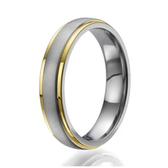 5mm domed Titanium Ring with 2 stylish yellow gold plated stripes on the sides