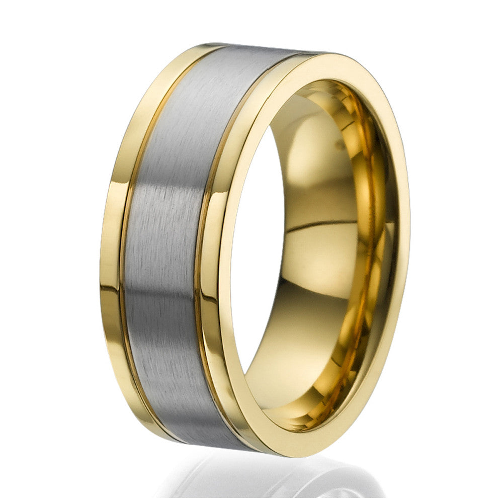 8mm Flat design Titanium Ring with 2 stylish yellow gold plated stripes on the sides