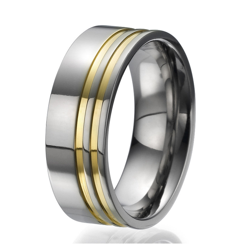 8mm Titanium Ring with 2 engraved stripes plated with yellow gold