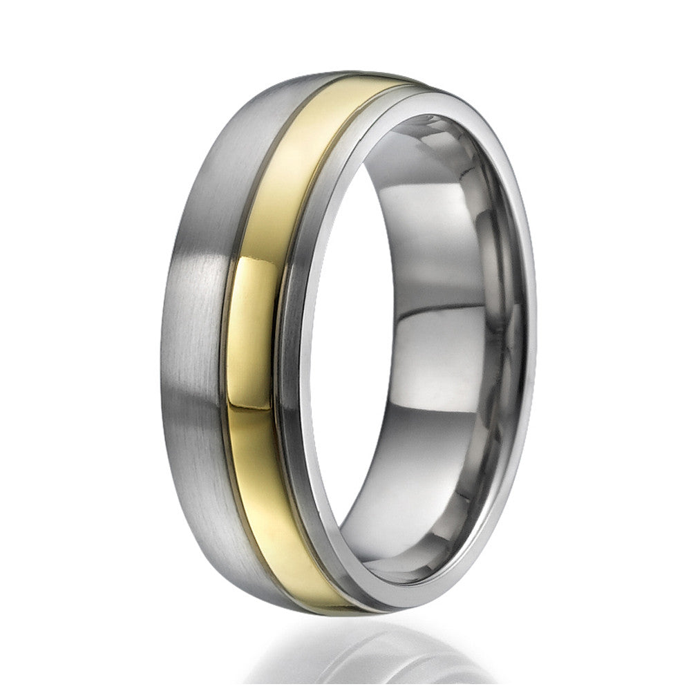 7mm Titanium Ring with a stylish stripe plated with yellow gold