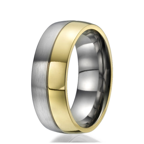 8mm Titanium Ring half plated with yellow gold