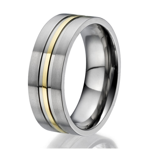 8mm Flat design Titanium Ring with an engraved stripe plated with yellow gold
