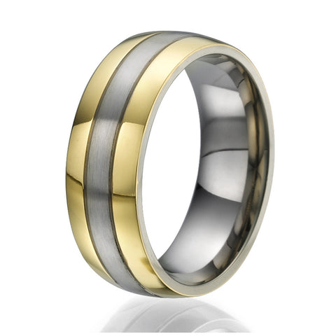 8mm Titanium Ring with 2 wide stripes plated with yellow gold on the sides