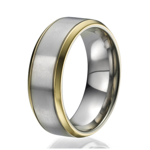 8mm Titanium Ring with 2 narrow stripes plated with yellow gold on the sides
