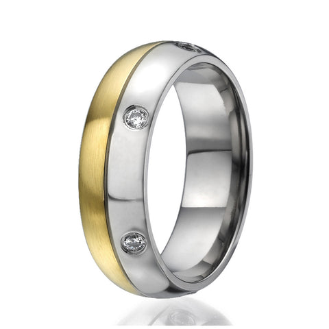 7mm Titanium Ring half plated with yellow gold and round zirconia all around