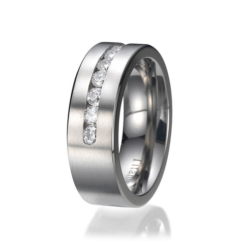 8MM Titanium ring wedding band with 9 large Channel Set CZ Sizes 9 to 13