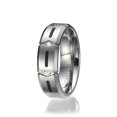 7MM High Polish / Matte Finish Men's Titanium Ring Wedding Band CZ Set