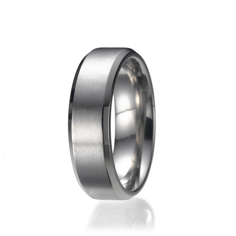 7MM High Polish / Matte Finish Men's Titanium Ring Wedding Band Sizes 9 to 13