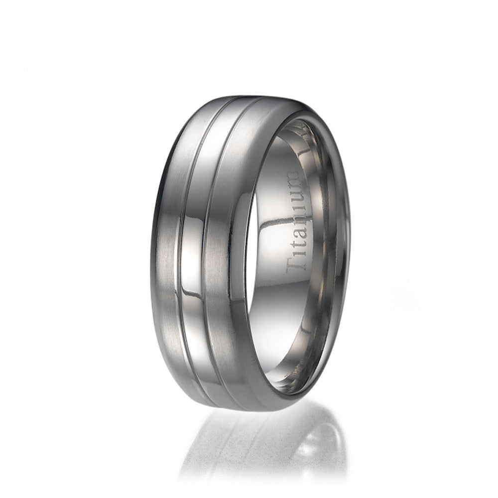 8MM Comfort Fit Polished Middle Row Titanium Mens Wedding Band Sizes 9 to 13
